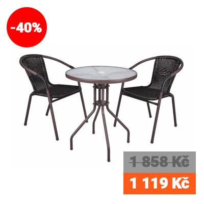 Bistro stolek a dvě židle z polyratanu Garth 1119 Kč